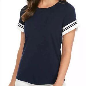 Crown & Ivy NWT Short Ruffle Sleeve T Shirt Sz M